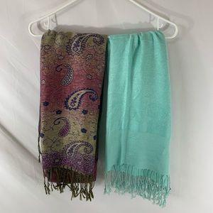 2 Pashmina/ silk scarves. Paisley print